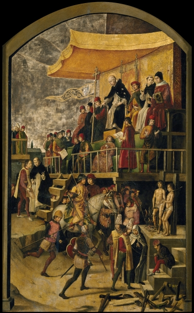 Pedro Berruguete (ca. 1450–1504): Skt. Dominicus præsiderer over en kætterbrænding (1475)