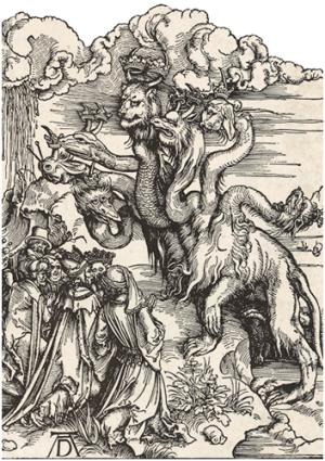 Albrecht Dürer: Das siebenköpfige Tier aus dem Meer und das Tier mit den Lammshörnern (udsnit)