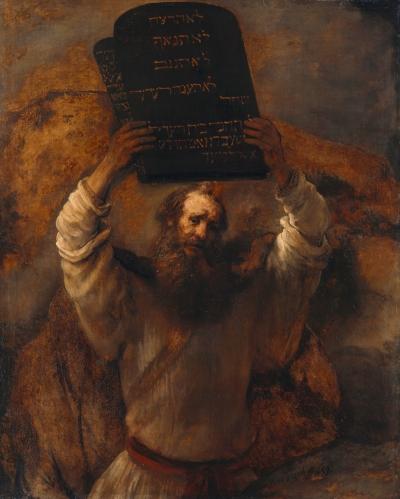 Rembrandt van Rijn (1606–1669: Moses smadrer lovens tavler (1659)