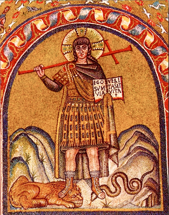 Den sejrende Kristus, Christus victor (udsnit af mosaik i det ærkebiskoppelige kapel i Ravenna, 500-tallet).