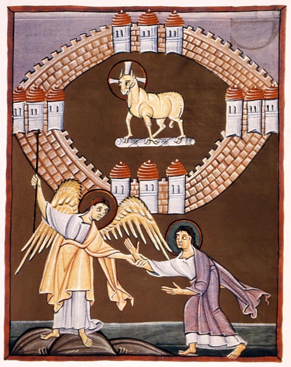Det ny Jerusalem med Guds Lam i midten (fra Bamberger-apokalypsen, ca. år 1000)