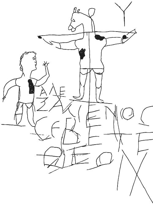 Det ældste kendte billede af Jesus er … en karikaturtegning, nemlig en romersk graffito fra ca. år 200, der viser en korsfæstet mand med æselhoved og teksten »Alexamenos tilbeder Gud«.
