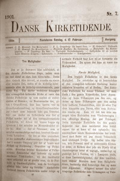 Dansk Kirketidende 1901. Nr. 7. Fastelavns Søndag, d. 17. Februar. J.H. Monrad: »Tre Muligheder« (sp. 97–105).