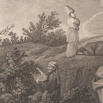 Udsnit af det første billede: Præsten og levitten har travlt med andre ting.