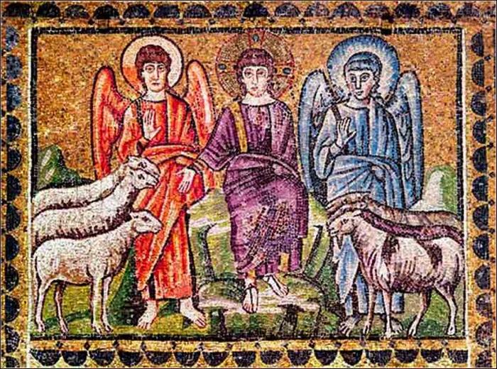 Verdensdommen. Byzantinsk mosaik (5. årh.) fra Basilica di Sant'Apollinare Nuovo, Ravenna, Italien.