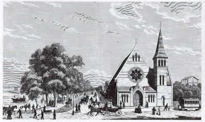 Den katolsk-apostolske kirke på Gyldenløvesgade i København, som den så ud i 1871 (fra Illustreret Tidende).
