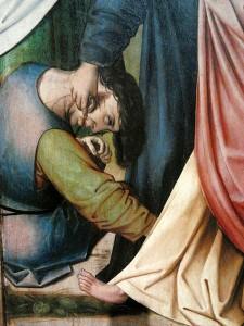Colijn de Coter: Kristi tilfangetagelse (ca. 1500), udsnit. Kristus rører ved tjenerens afhuggede øre og helbreder det (Luk 22,51).
