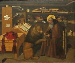 Hieronymus i færd med at trække en torn ud af en løves pote (Colantonio, formentlig efter 1440)