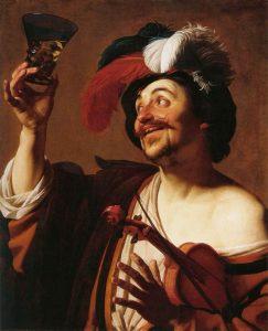 Gerard van Honthorst: Den glade violinist med et glas vin (ca. 1624)